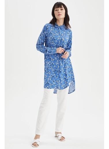 DeFacto Çiçek Desenli Relax Fit Gömlek Tunik Mavi
